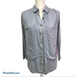 Free People Slouch Buttondown Blouse Gray